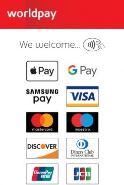 Worldpay. We welcome:      Apple Pay     Google Pay     Samsung Pay     Visa     Mastercard     Maestro     Discover     Diners Club International     UnionPay     JCB